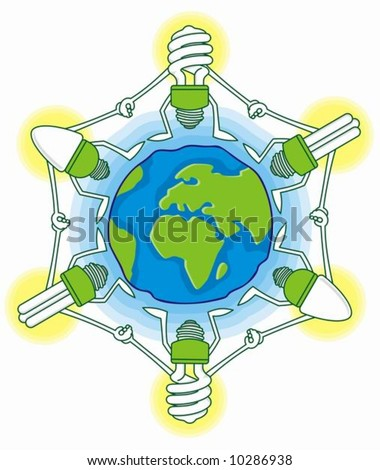earth globe cartoon with compact fluorescent light bulbs