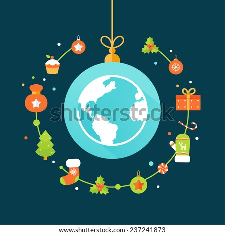 earth globe and christmas decorations christmas and new year celebrations around the world flat
