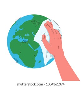 Earth globe cleaning with a rag. Vector concept illustration of blue and green earth planet globe and hand wiping it with a rag. Concept of care for environment, environmental conservation, ecosystem