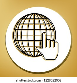 Earth Globe with cursor. Vector. Black icon with light brown shadow in white circle with shaped ring at golden background.