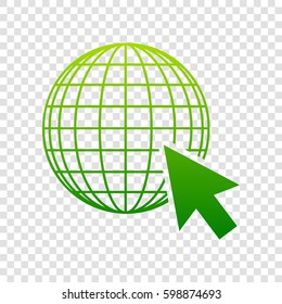 Earth Globe with cursor. Vector. Green gradient icon on transparent background.