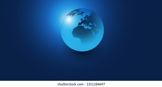 Earth Globe Design - Global Business, Technology, Globalisation Concept, Vector Template