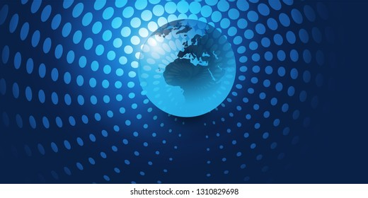 Earth Globe Design with Glowing Spotted Swirly Abstract Background - Global Business, Technology, Globalisation Concept, Vector Template