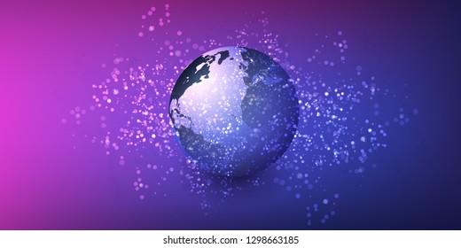 Earth Globe Design on Dark Sparkling Background