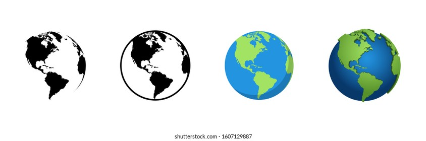 Earth Globe in different designs. World Map in circle. Earth Globes collection. World Map in modern simple styles. Earth Map, isolated on white background. Globes web icon. Vector illustration