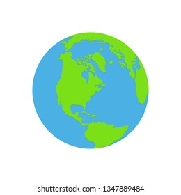Earth globe flat vector design illustration isolated on white background