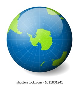 Earth equator images stock photos vectors shutterstock earth globe with green world map and blue seas and oceans focused on antarctica and south gumiabroncs Choice Image