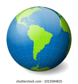 Earth globe with green world map and blue seas and oceans focused on South America. With thin white meridians and parallels. 3D glossy sphere vector illustration.