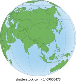 Earth globe with green world map and blue seas and oceans focused on Asia