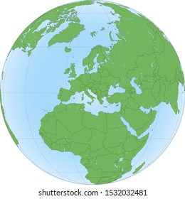 Earth globe with green world map and blue seas and oceans focused on Europe