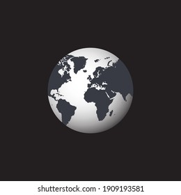 Earth globe icon. hemisphere by continent. world map vector.