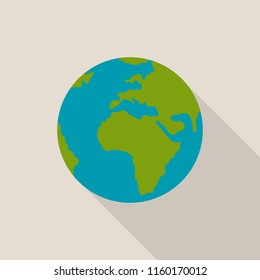 Earth globe icon with long shadow on gray background, flat design style