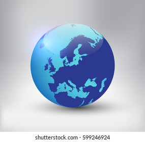 Earth globe icon with map of Europe.Vector world globe.