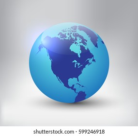 Earth globe icon with map of North America.Vector world globe.