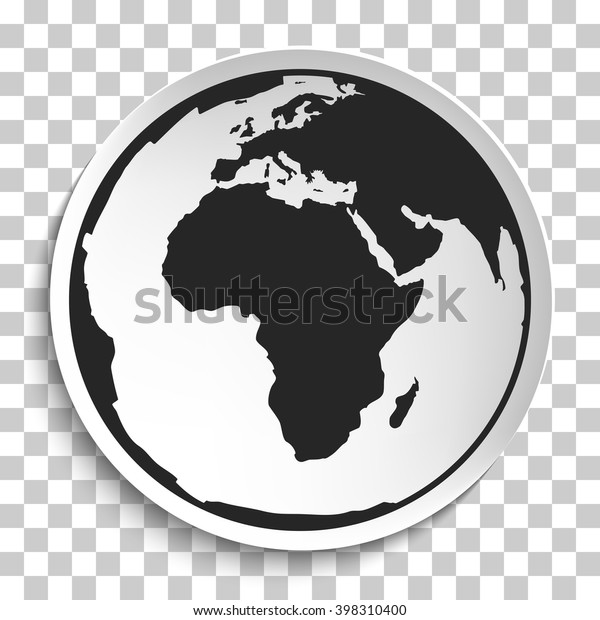 Earth Globe Icon On White Plate Stock Vector (Royalty Free