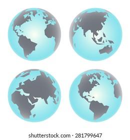 Earth globe icon. Set of primitive angular vector illustration of Planet Earth.