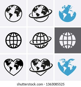 Earth globe Icon set. Vector World map