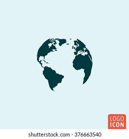 Earth globe icon. Vector illustration.