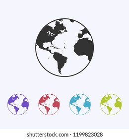 Earth globe icon vector, planet, world