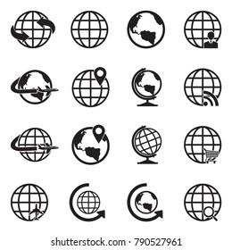 Earth Globe Icons. Black Flat Design. Vector Illustration.