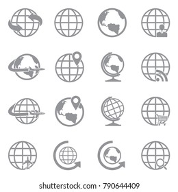 Earth Globe Icons. Gray Flat Design. Vector Illustration.