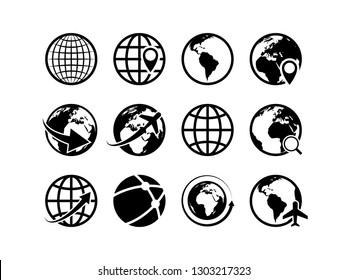 Earth globe icons. World map geography internet global commerce international tourism vector globe symbol set
