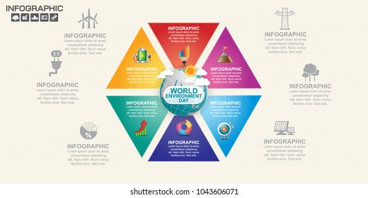 Earth globe with infographic vector illustration can be use as flyer, banner or poster. World Environment Day concept.