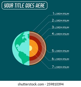 Earth globe intersection. Infographic usable for presentations.