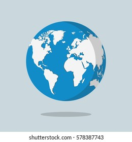 Earth globe isolated on gray background. Flat planet icon. Vector illustration.