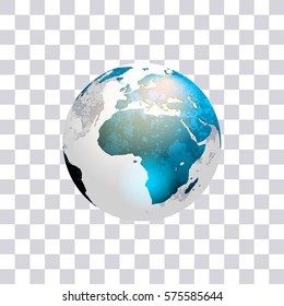 Earth. Globe isolated on transparent background. World map. Vector Illustration.