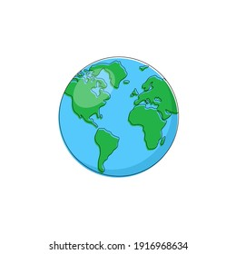 Earth globe isolated on white background. Earth icon. Vector illustration