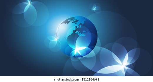 Earth Globe Layout with Light Flares - Global Business, Technology, Globalisation Concept, Vector Template