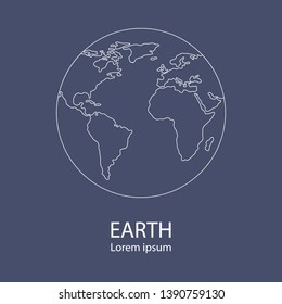Earth globe logo template. World map. Line style icon of earth planet. Clean and modern vector illustration for design, web.