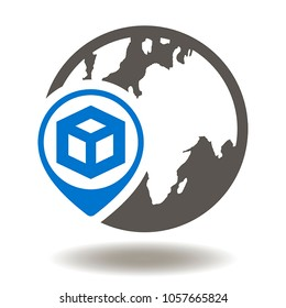 Earth Globe Map Marker Cube Icon Vector. Supply Chain Illustration. Global Logistics Shipping Service Logo Symbol.