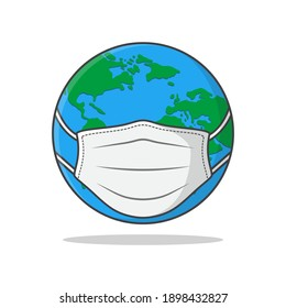Earth Globe In Medical Face Mask Vector Icon Illustration. Earth In Mask Flat Icon