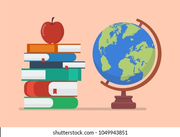 Earth globe model with books and apple. Education concept