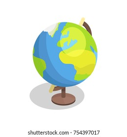 Earth globe model vector illustration isolated on white background. Geographical object with land, oceans and seas in isometric design