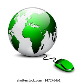 earth globe with mouse concept
