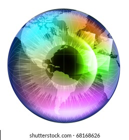 Earth Globe in multicolor human eye. EPS10 vector illustration.