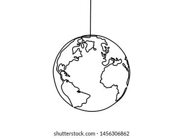 Earth globe one line drawing of world map vector illustration minimalist design of minimalism isolated on white background