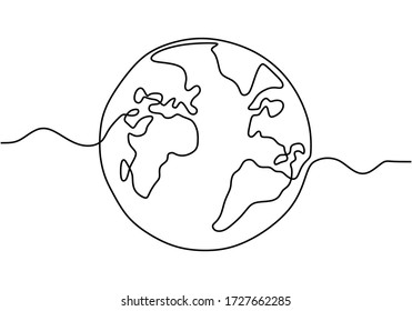 Earth globe one line drawing of world map vector illustration minimalist design isolated on white background. Simple modern earth globe style. Hand drawn for logo, emblem and design poster.
