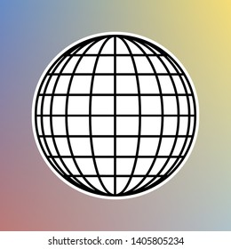 Earth Globe sign. Black icon in white shell at pastel color background. Illustration.