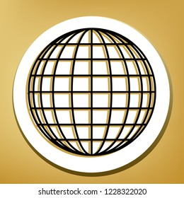 Earth Globe sign. Vector. Black icon with light brown shadow in white circle with shaped ring at golden background.