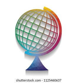 Earth Globe sign. Vector. Colorful icon with bright texture of mosaic with soft shadow on white background. Isolated.