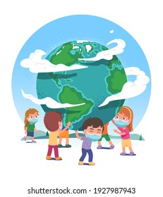 Earth globe supported by boys, girls children in protective masks stop COVID pandemic spread. Kids persons protect world from coronavirus. Global corona virus danger concept flat vector illustration