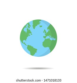 Earth globe in trendy flat style isolated vector illustration. Flat planet on white background. EPS 10