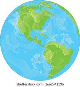 Earth globe vector with clouds