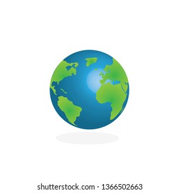 earth globe vector on white background planet icon
