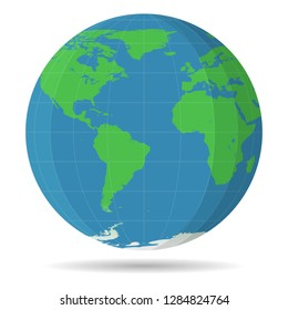 Earth Globe view of America Africa Europe. Flat color planet Earth icon isolated on white background. Vector illustration