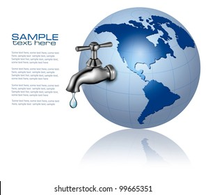 Earth globe with water tap and drop. Eco Concept. Vector